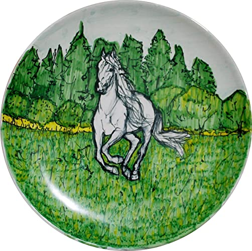 08ee04622164 EL caballo-Plato de cerámica esmaltado decorado a mano, tamaño cm 25 ...