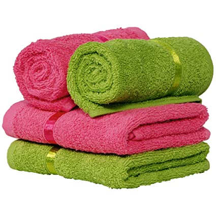 Story@Home Hand Towel Combo 450 GSM Set of 4 Value Pack Collection Made with 100% Ring Spun Soft Cotton with Quick Dry and Extra Long Durability and Light Weight - Lime and Paradise Pink