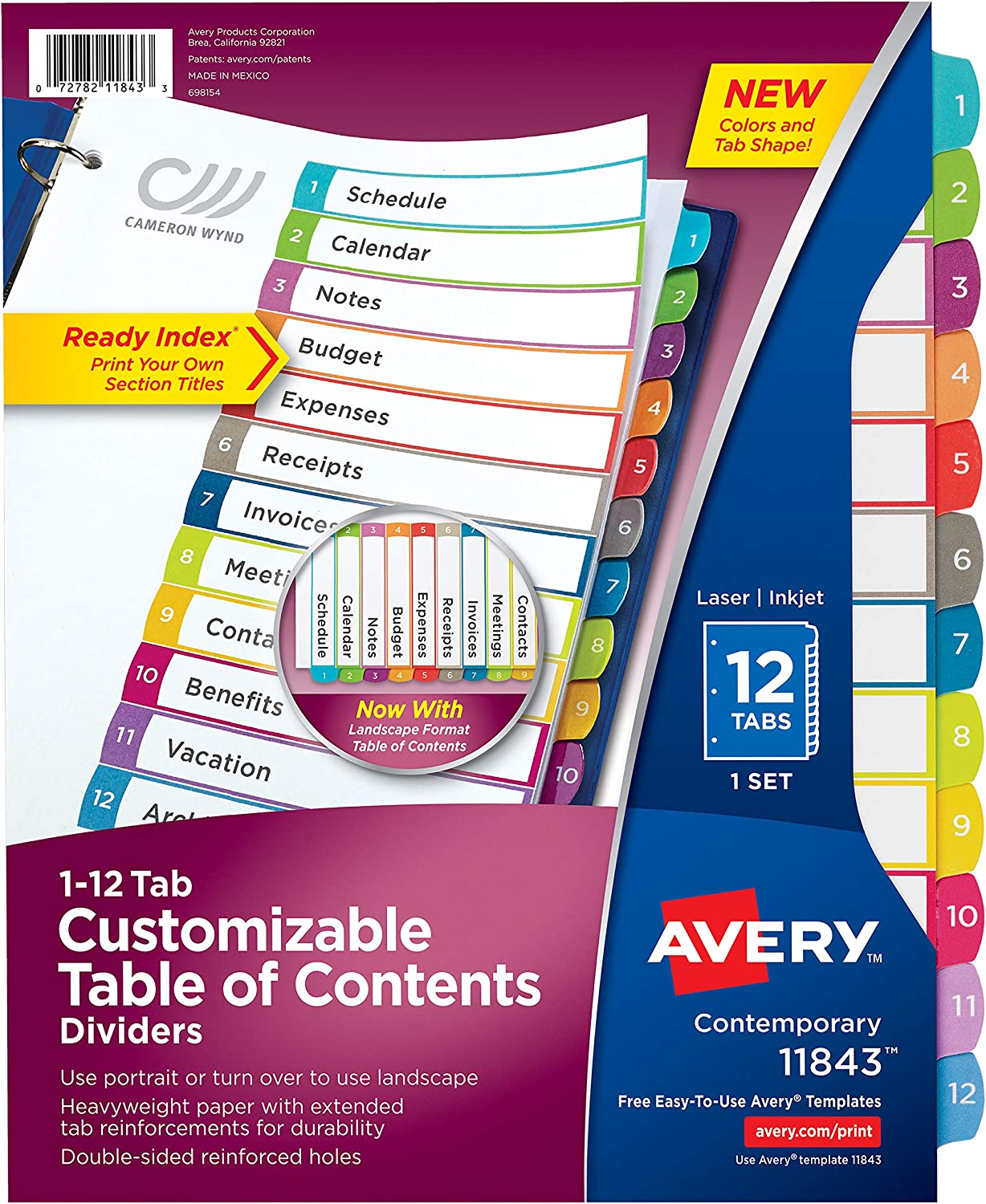 Avery 12 Tab Dividers for 3 Ring Binders, Customizable Table of Contents, Multicolor Tabs, 1 Set (11843) : Office Products