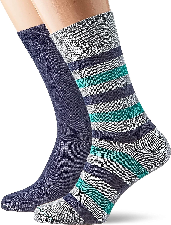 ESPRIT Herren Socken Regular Stripe 2er Pack 2 Paar Unifarbener und gestreifter Herrenstrumpf im Doppelpack Farben Gr/ö/ße 39-46 Versch Baumwollmischung
