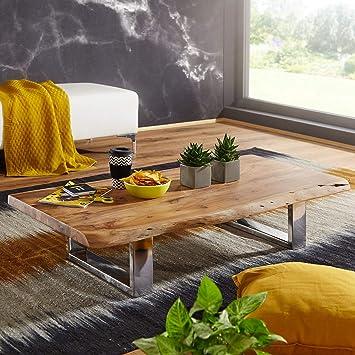 FineBuy Couchtisch Anura 115 x 25 x 58 cm Akazie Massiv Holz ...