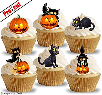 pre cut cat pumpkin edible rice wafer paper cupcake cake toppers halloween party