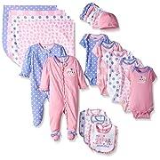 Gerber Baby Girls' 19 Piece Baby Essentials Gift Set, Leopard, Newborn