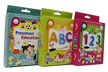 Fusine New Creative Educational Aids Preschool Concepts, Number Concepts, Alphabets Concepts (Flash Cards with Pen) (Write and Learn) (All 3 of Them)