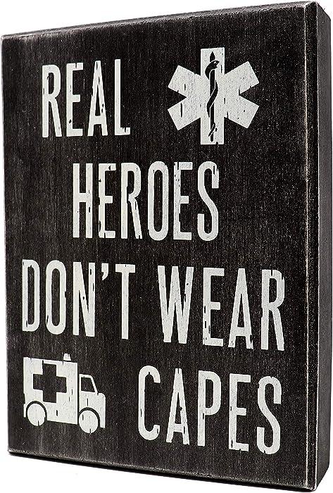 JennyGems EMT Sign - Real Heroes Don't Wear Capes - Paramedic Sign, First Responder, Nurse, Ambulance Driver, Gift for EMT, EMT Gift, Shelf Knick Knacks