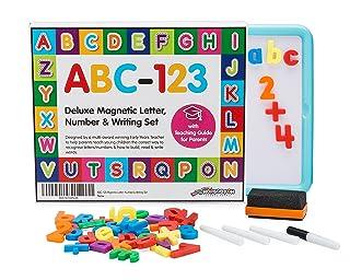 Hopscotch School Supply, ABC-123 Lettere Magnetiche per Bambini, Set di Numeri & Lettere. Qualità Premium. Include la Guida GRATUITA per Genitori su come Insegnare ai Bambini le Basi