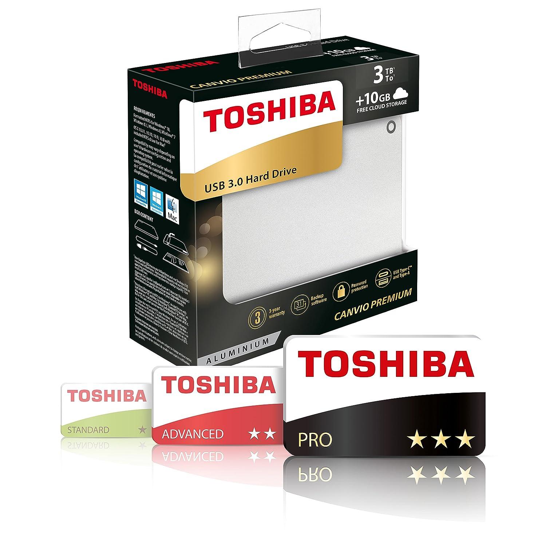 Toshiba HDTW110EB3AA Canvio Premium HDD Esterno da 1 TB Grigio