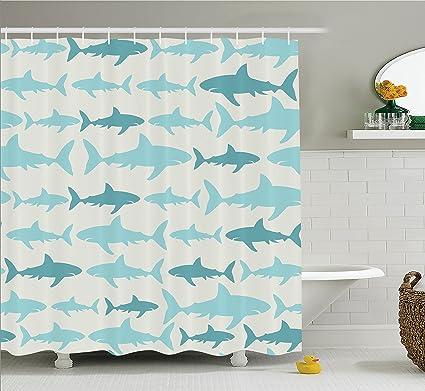 Ambesonne Fish Shower Curtain Blue Decor Sharks Pattern Sea Animals Theme Monochrome Fashion Maritime Aquatic