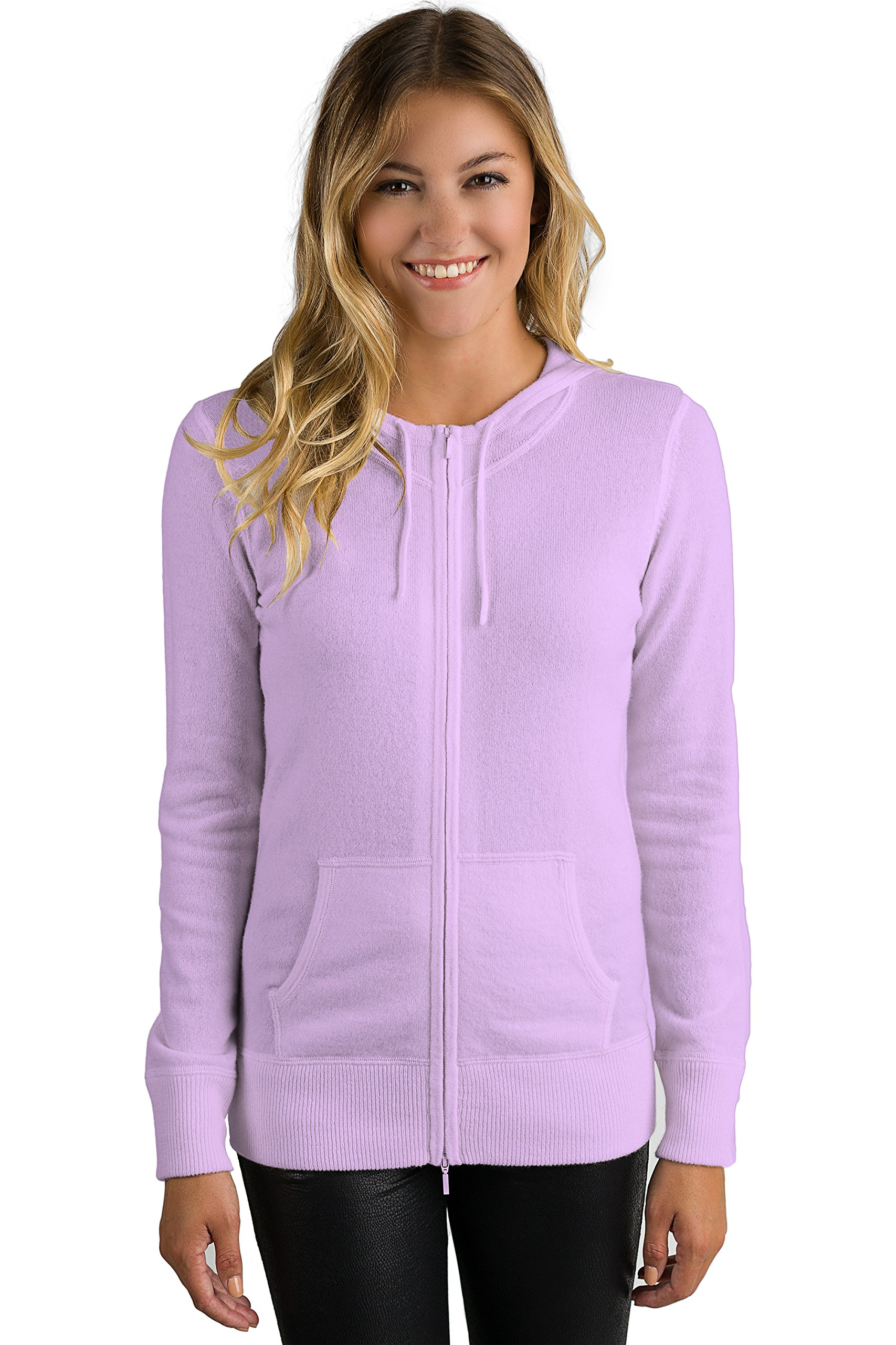 JENNIE LIU Women's 100% Pure Cashmere Long Sleeve Zip Hoodie Cardigan Sweater (M, Wisteria)