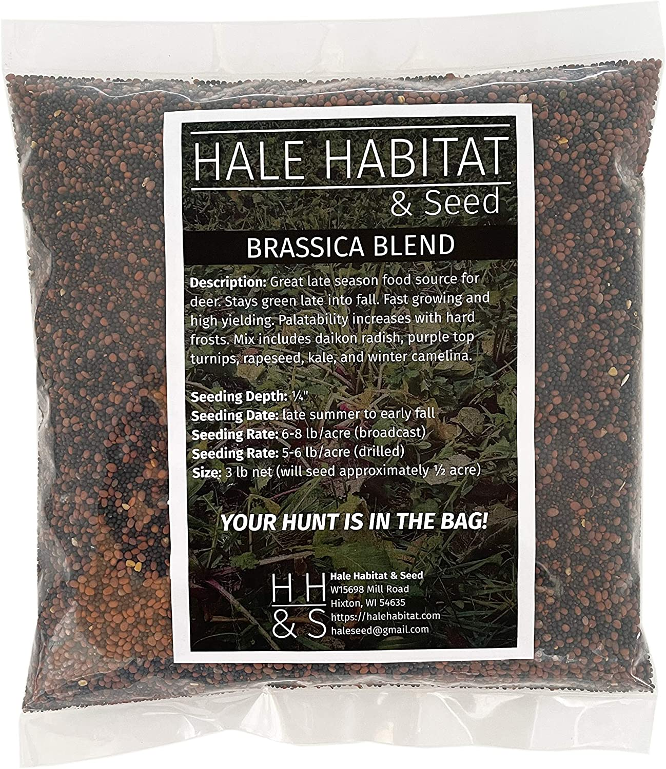 Hale Habitat & Seed, Brassica Blend, Deer Food Plot Seed, Fall Planting, 1/2 Acre, Highly Attractive Fall Food Plot