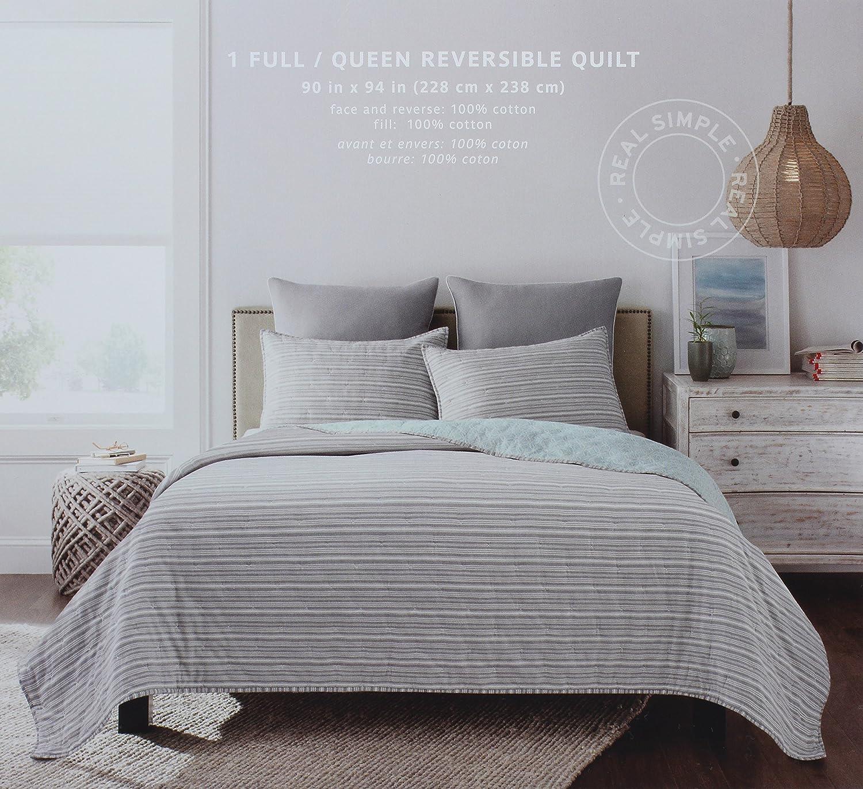 aグレー色パターン SimpleフルクイーンサイズリバーシブルキルトからThe B075DF1M86 Real Skyler寝具コレクションin