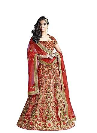 2f13fa5068 Mahotsav Women's Embroidered Red Semi Stitched Lehenga Choli With Blouse  Piece (Red_FreeSize)