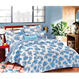 haus & kinder Tropical Leaves Eleganza 100% Cotton Double Bedsheet with 2 Pillow Covers (Blue)