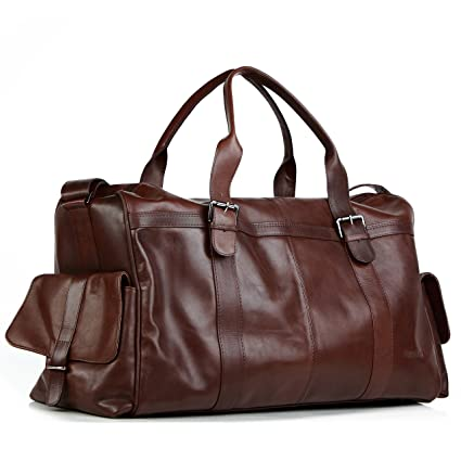 5a0c0ea9b6 FEYNSINN real leather travel bag holdall ASHTON XL weekender duffel bag 38l  overnight duffle bag leather bag men´s bag brown  Amazon.co.uk  Luggage