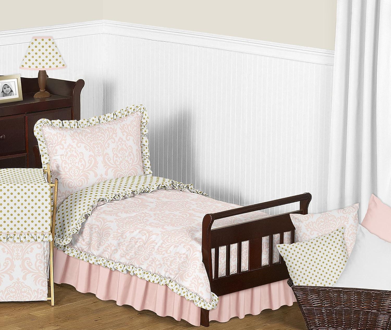 Fabric Memory//Memo Photo Bulletin Board for Blush Pink White Damask and Gold Polka Dot Amelia Collection Sweet Jojo Designs B01JMQNCMK