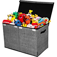 Toy Chest and Storage Box | House Organization Products | Toy Organizer bins and Toy Bin Organizer for Tots Toys | Girls Toy Box or Boys Toy Box | Kids Room Storage or Living Room Storage (Gray& Black