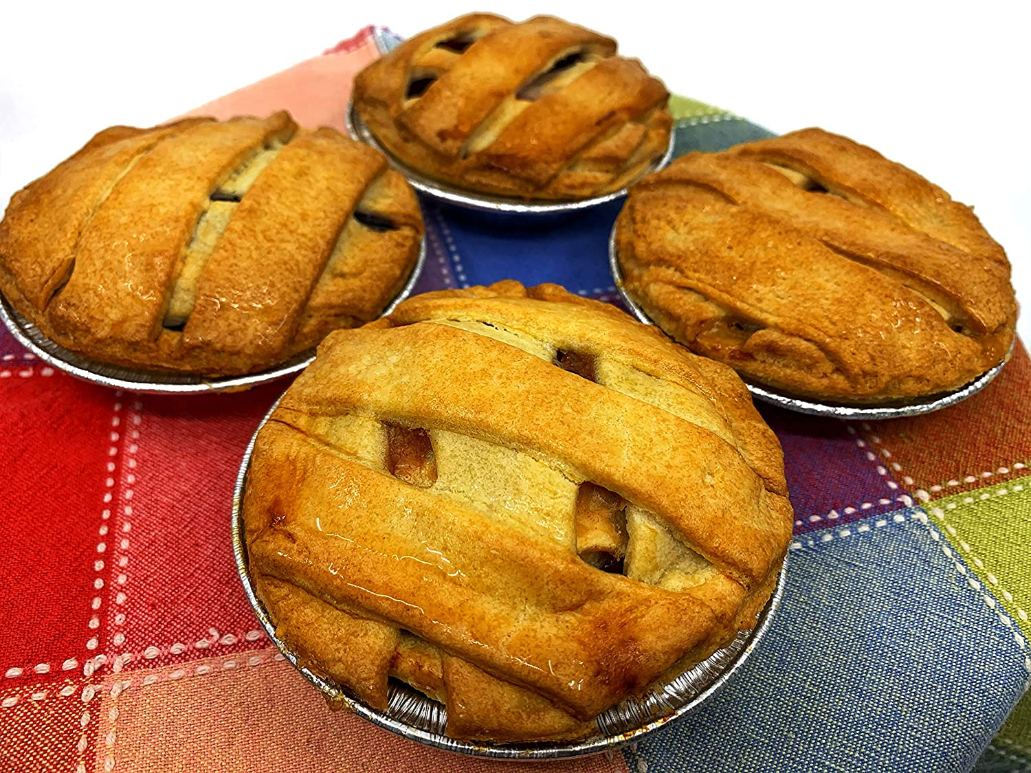 The Baking Institute's Gourmet Fresh Baked 4 inch Mini Pies - 7 oz - Blueberry, Cherry, Peach, & Apple - Individually Wrapped Desserts in Assorted Flavors