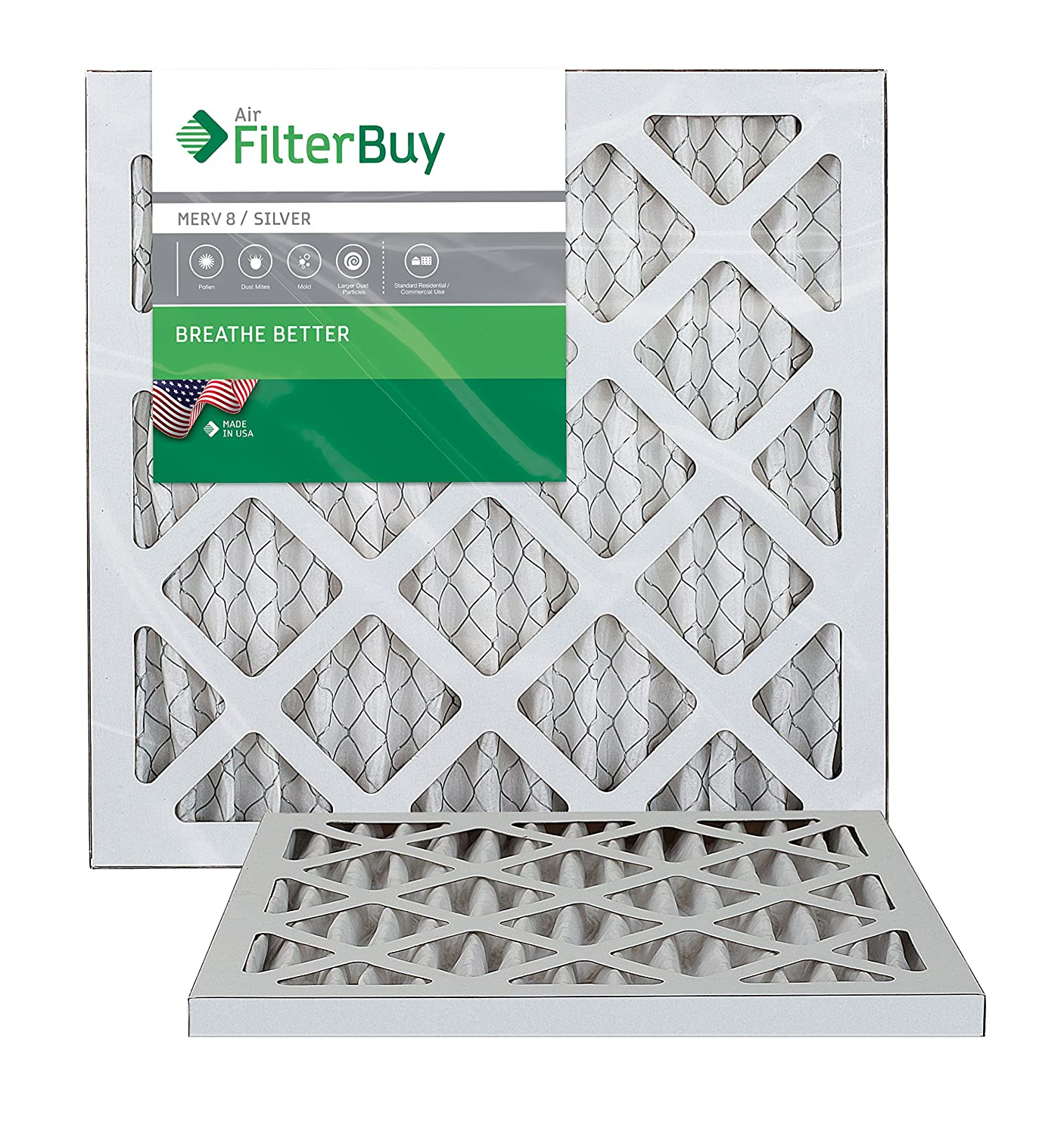FilterBuy 14x18x1 MERV 8 Pleated AC Furnace Air Filter, (Pack of 2 Filters), 14x18x1 – Silver