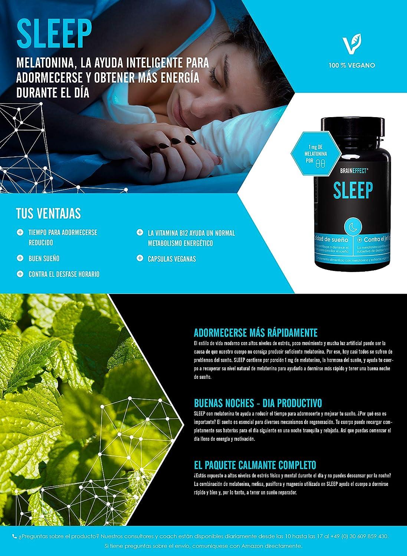 BRAINEFFECT SLEEP - 1mg Melatonina por porción - 60 cápsulas - Ayuda Natural para Dormir - Con Pasíflora y Melisa - Vegano | Hecho en Alemania