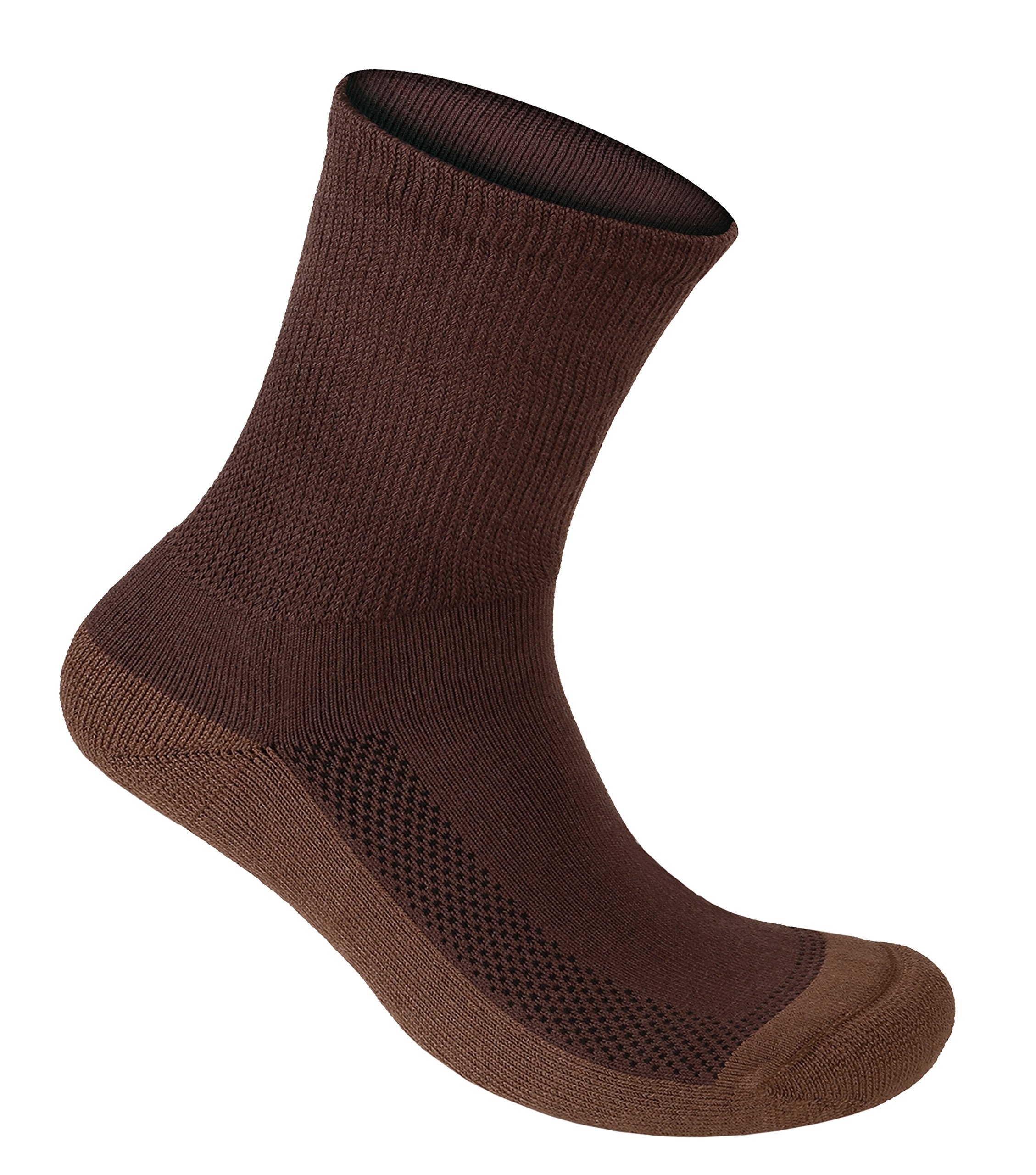 Orthofeet Extra Roomy Non-Binding Non-Constrictive Circulation Seam Free Bamboo Socks Dark Brown, 3 Pack Large