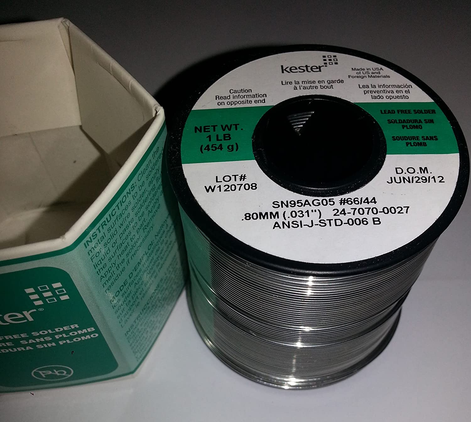 Kester 44 Activated Rosin Flux Core Lead-Free Solder Wire - 1 lb - 0.031 in Wire Diameter - Sn/Ag Compound - 24-7070-0027 [PRICE is per POUND]: Amazon.com: ...