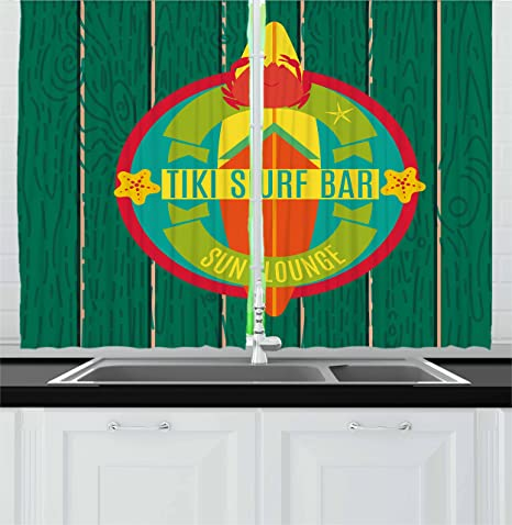Amazon Com Ambesonne Tiki Bar Kitchen Curtains Tiki Surf Bar Sun Lounge Holiday Vacation Theme Surfboard Crab Starfishes Print Window Drapes 2 Panel Set For Kitchen Cafe Decor 55 X 39 Multicolor Home