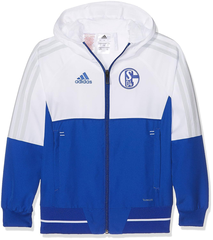 Adidas S04 Pre Jkty FC Schalke, Giacca Bambino, Blu (Azufue/Bianco/Gricla), 152 BS4977