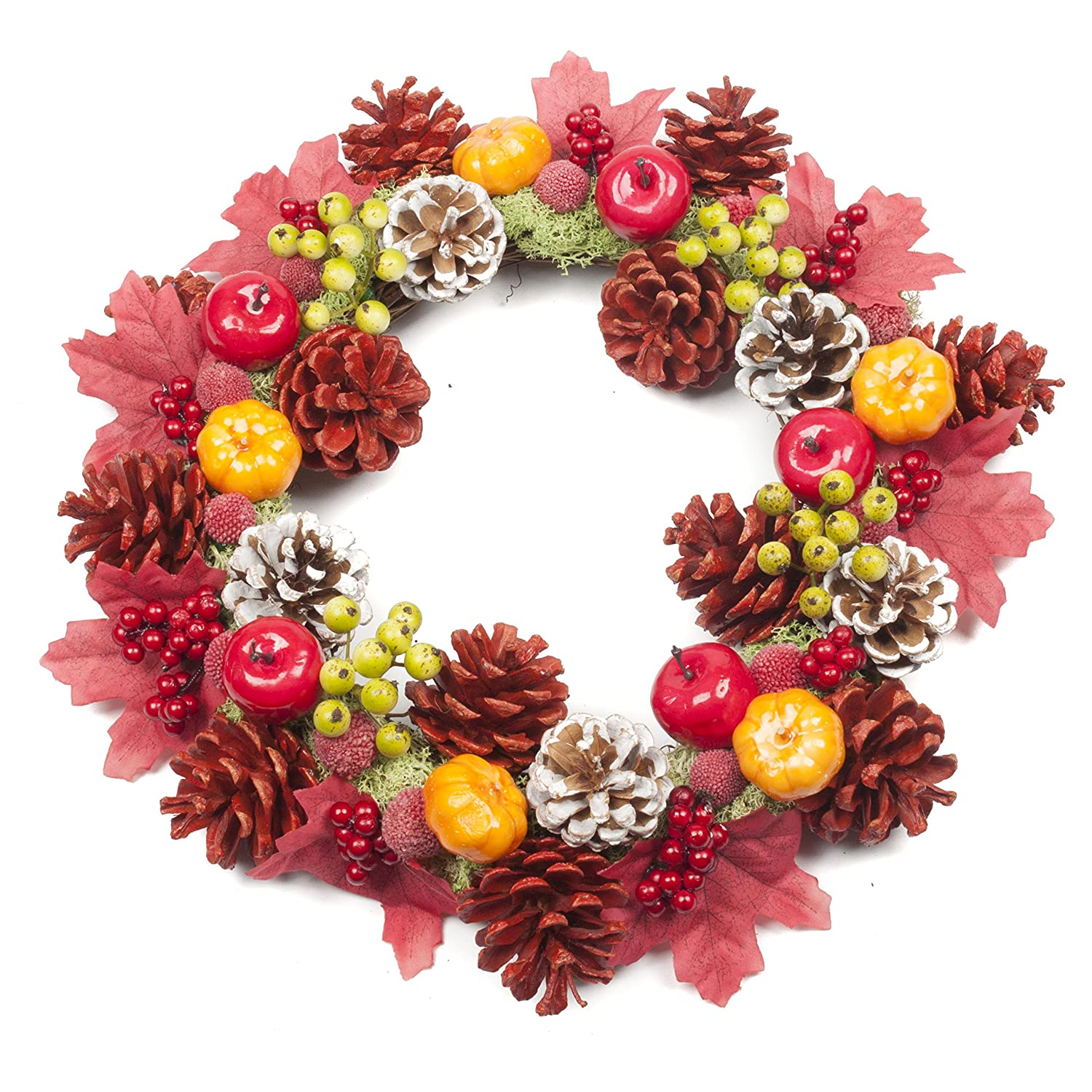 LTWHOME WWBB Artificial Berry Wreath with LED Lights, Blue Berries, Red Berries and Cherries for Front Door,Wall, Mantelpiece,Window Decoration Ltd.