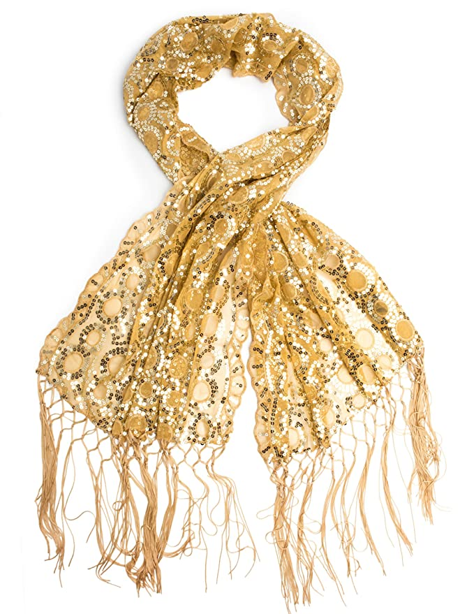 1920s Style Wraps Long Fringe Sequin Evening Wrap $18.95 AT vintagedancer.com