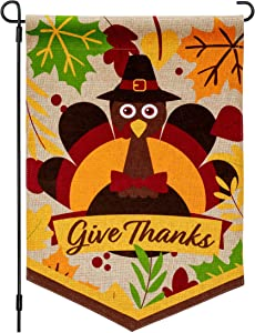 Joyousa Thanksgiving Garden Flag – 12x18 Inch Burlap Thanksgiving Decorations - Turkey Outdoor Yard Flags Design for November