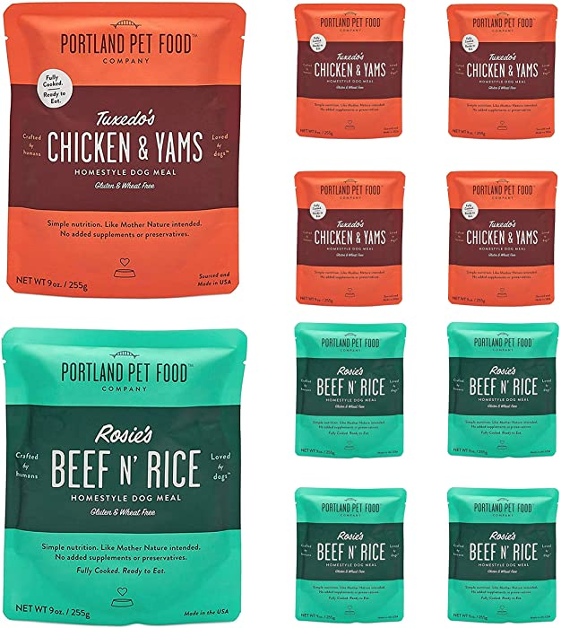 Portland Pet Food Company – Natural Wet Dog Food Pouches – Human-Grade, Gluten-Free Mixer or Dog Food Topper, Made in The USA Dog Food (4X Rosie's Beef/ 4X Tuxedo's Chicken)