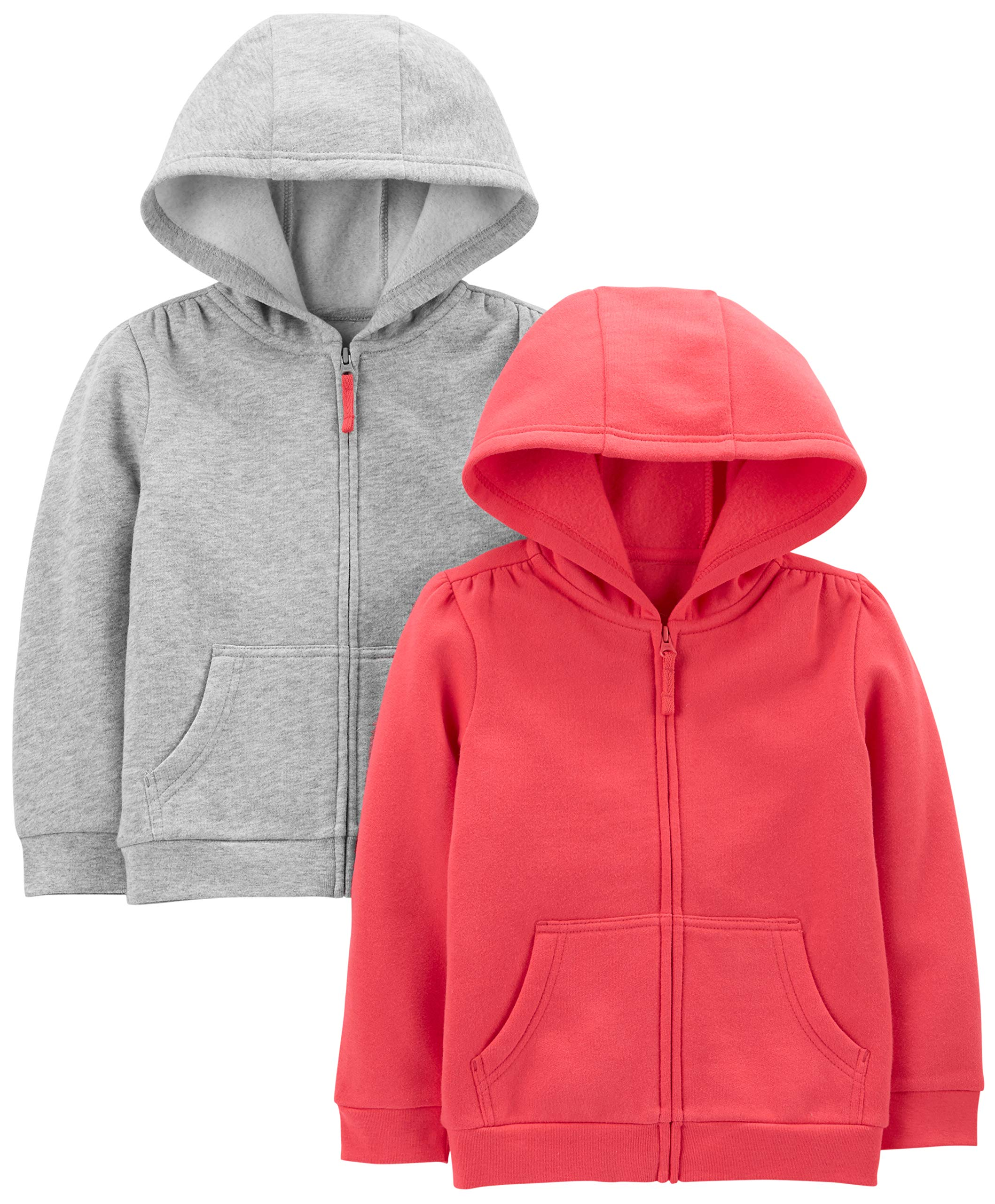 Simple Joys by Carter's Girls' Toddler 2-Pack Fleece Full Zip Hoodies, Pink/Gray, 4T