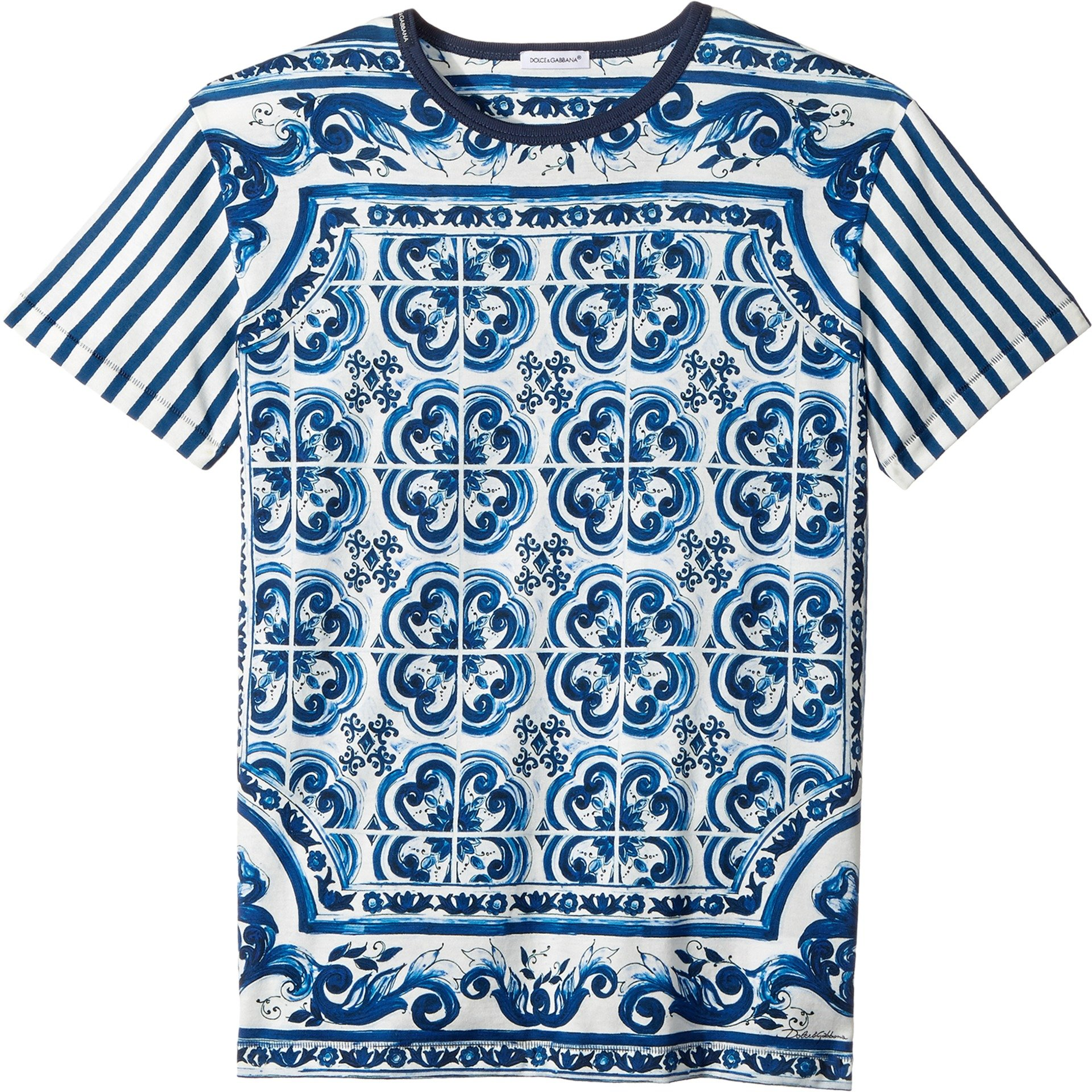 Dolce & Gabbana Kids Boy's Capri Striped Maiolica T-Shirt (Big Kids) Blue 12 Big Kids by Dolce & Gabbana