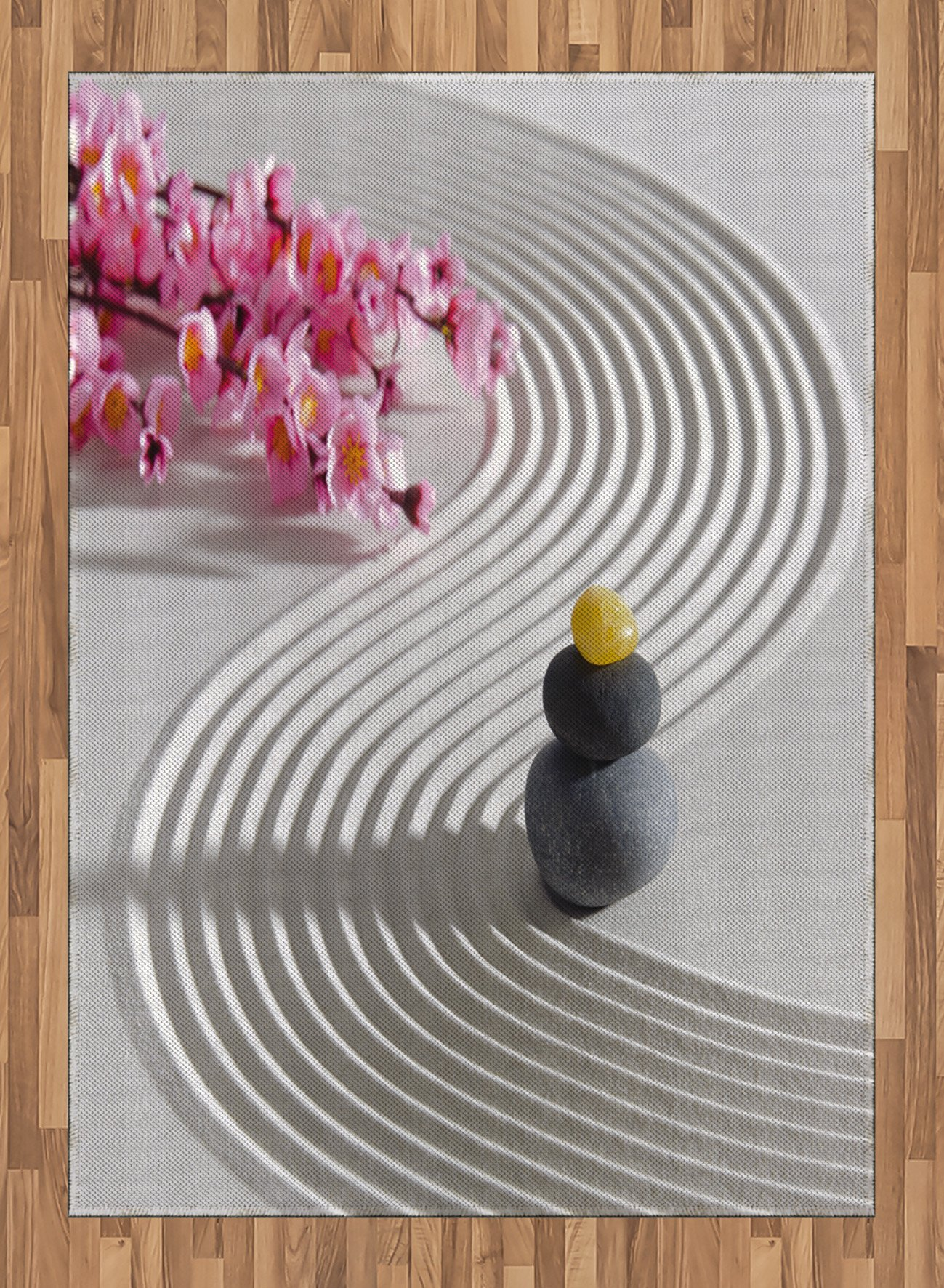 Spa Area Rug by Lunarable, Japanese Zen Stones of Meditation Sand with Orchids Relax Yoga Spirit Picture, Flat Woven Accent Rug for Living Room Bedroom Dining Room, 5.2 x 7.5 FT, Pearl Pink Dimgrey