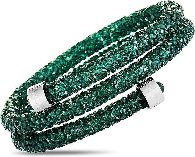 Swarovski Crystaldust Double Bangle - Green - 5273642: Amazon.ca ...