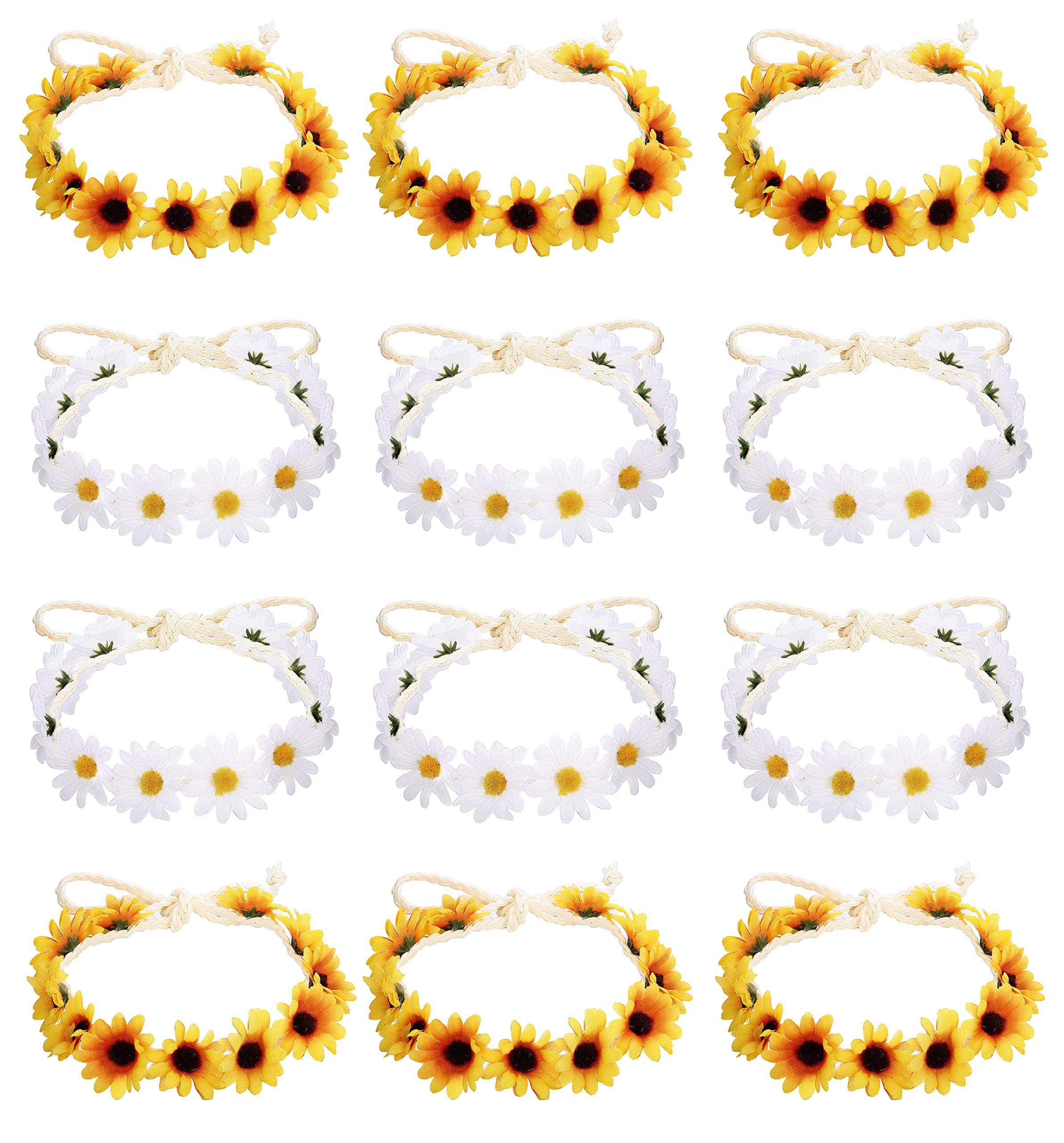 Milacolato 6-12Pcs Handmade Daisies Sunflower Headband Boho Floral Wreath Bridal Headpiece for Wedding Festivals Hair Accessories White&Yellow