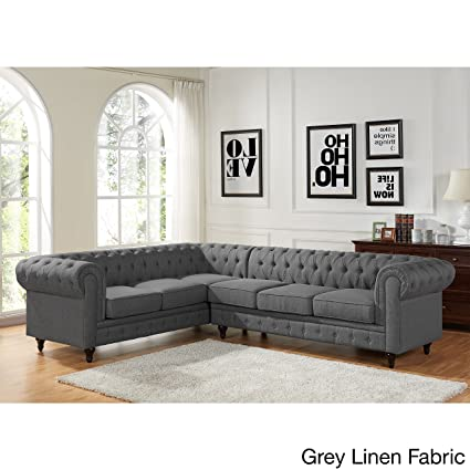 US Pride Furniture Sophia Modern Style Tufted Rolled Arm Right Facing  Chaise Sectional Sofa Grey