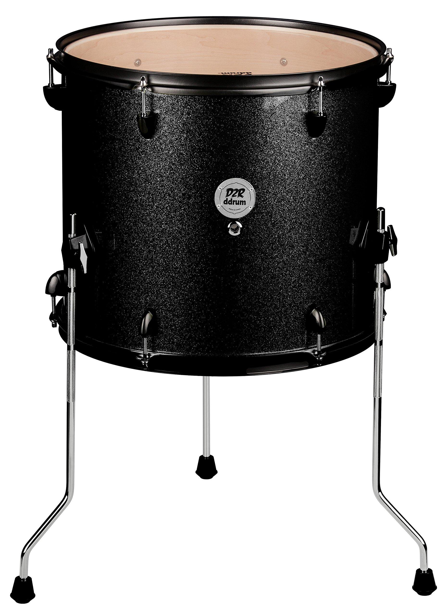 ddrum D2R FT 12X14 BLK SPKL Series Sparkle Floor Tom Drum Set, Black
