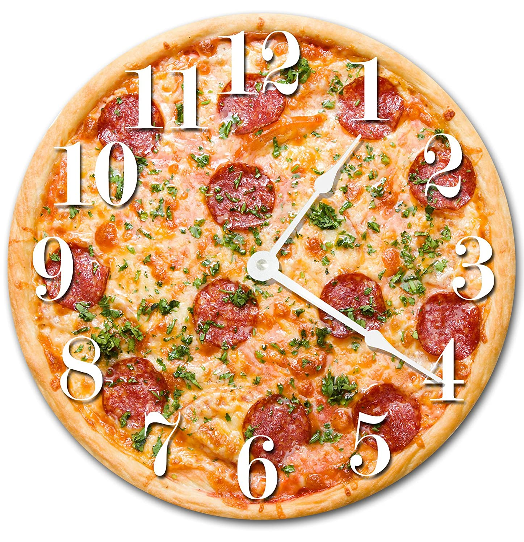 PIZZA CLOCK Large 10.5 Wall Clock Decorative Round Novelty Clock KITCHEN FOOD CLOCK