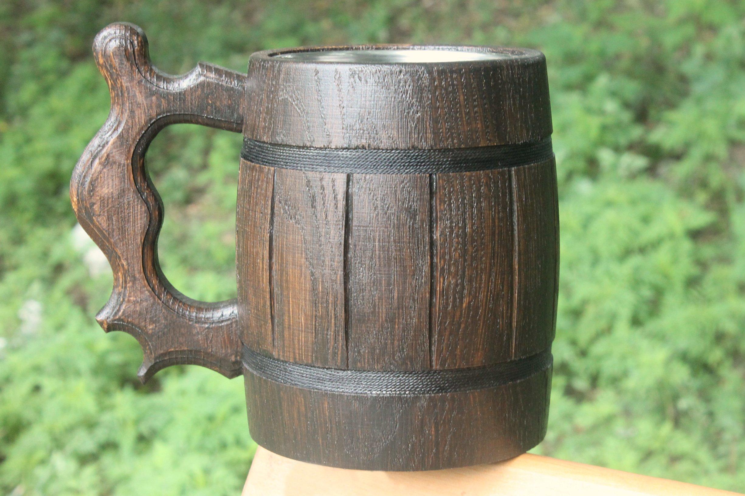 Wooden Beer Mug Eco-Friendly 20oz 0.6L Stainless Steel Cup Men Brown Wood Tankard Wedding Gift Beer Mug by WorldMaker   Exclusive Handmade goods (Image #4)