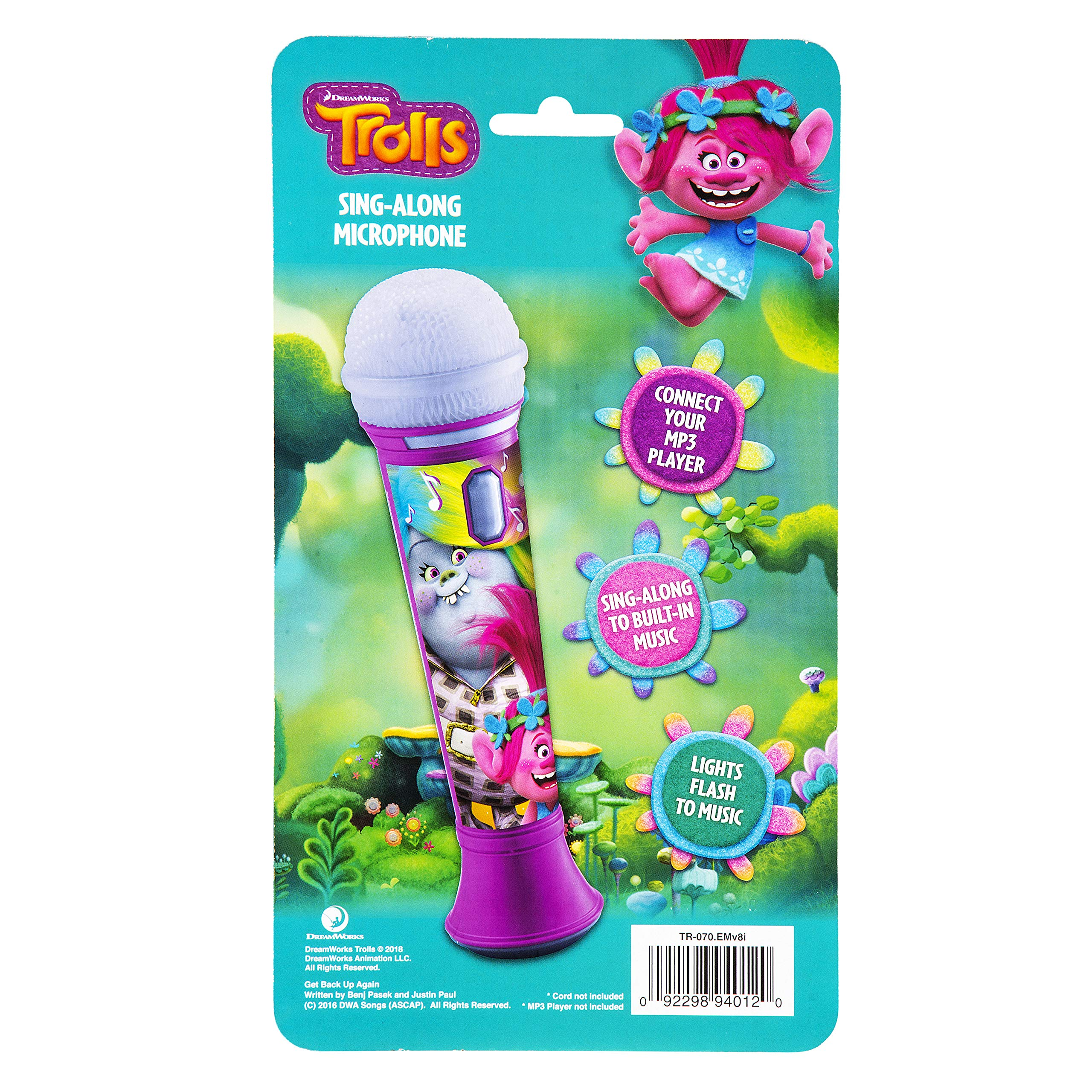 Trolls Sing Along MP3 Microphone Sing to Built in Music or Connect Your Audio Device and Sing to Whatever You Like by eKids (Image #6)