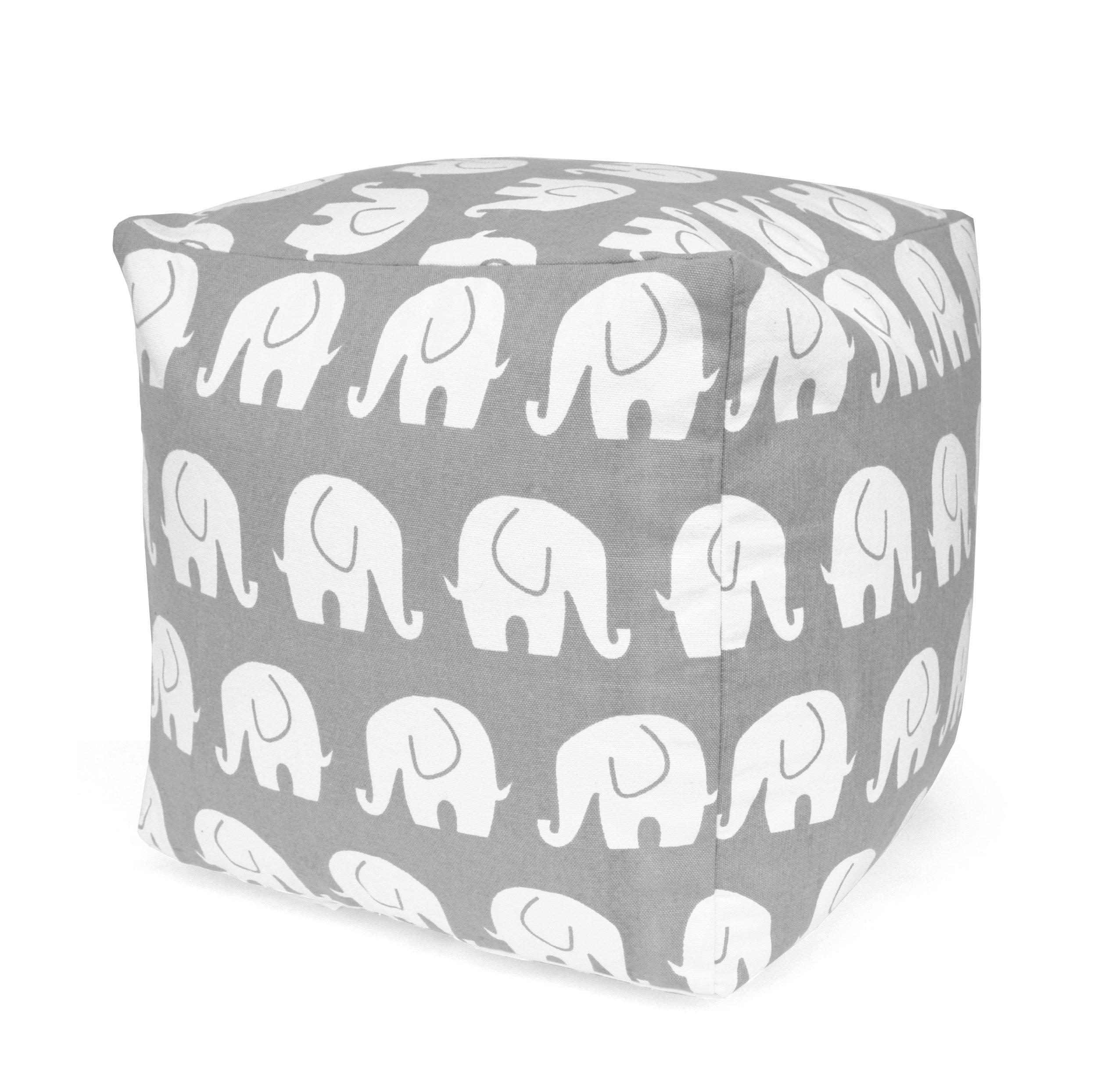 Urban Shop Elephant Printed Pouf, Gray by Urban Shop
