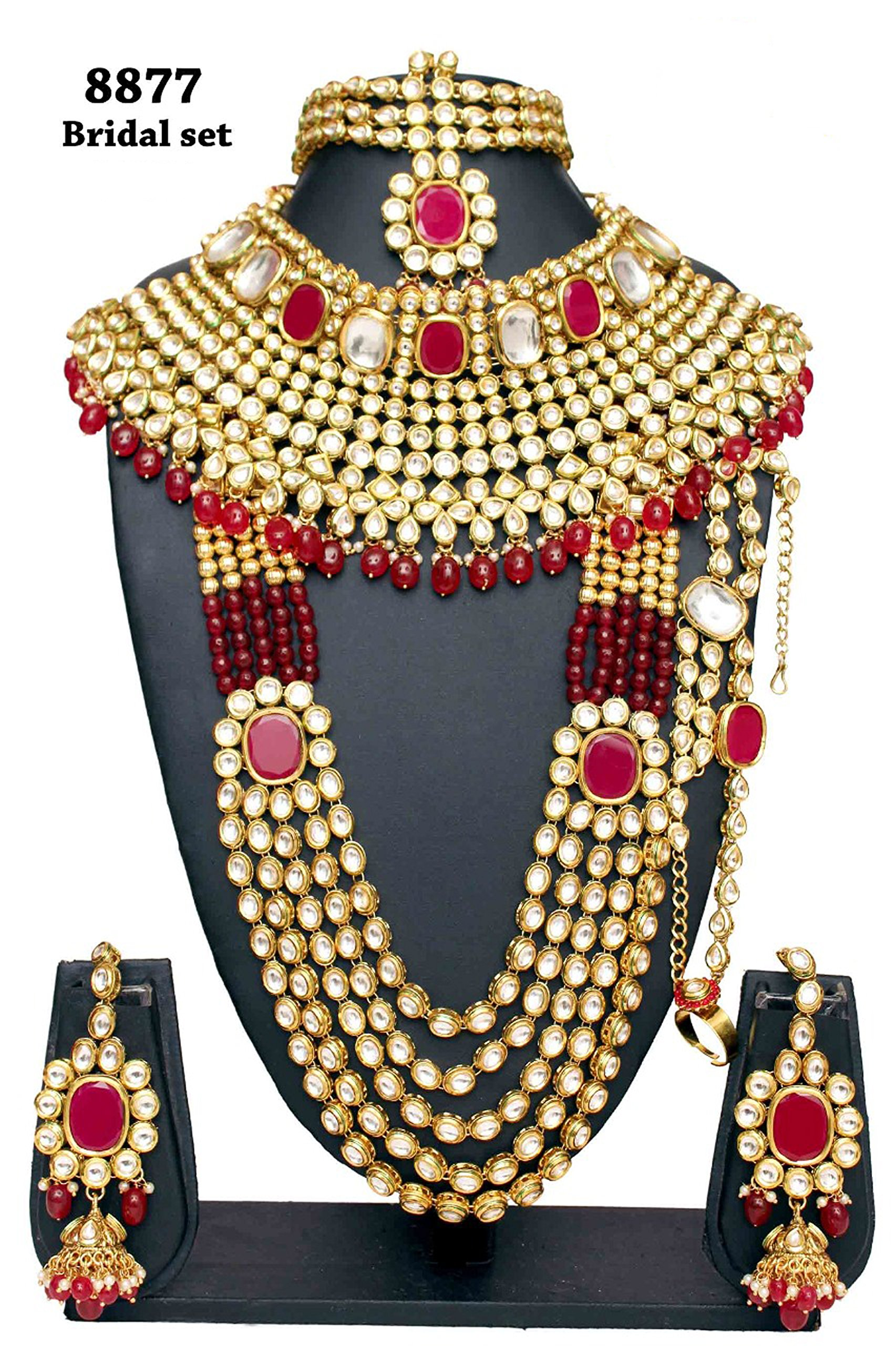 Wedding wear Fabulous Style Gold Plated Kundan Stone Indian Necklace Earrings Bridal Set Partywear Jewelry
