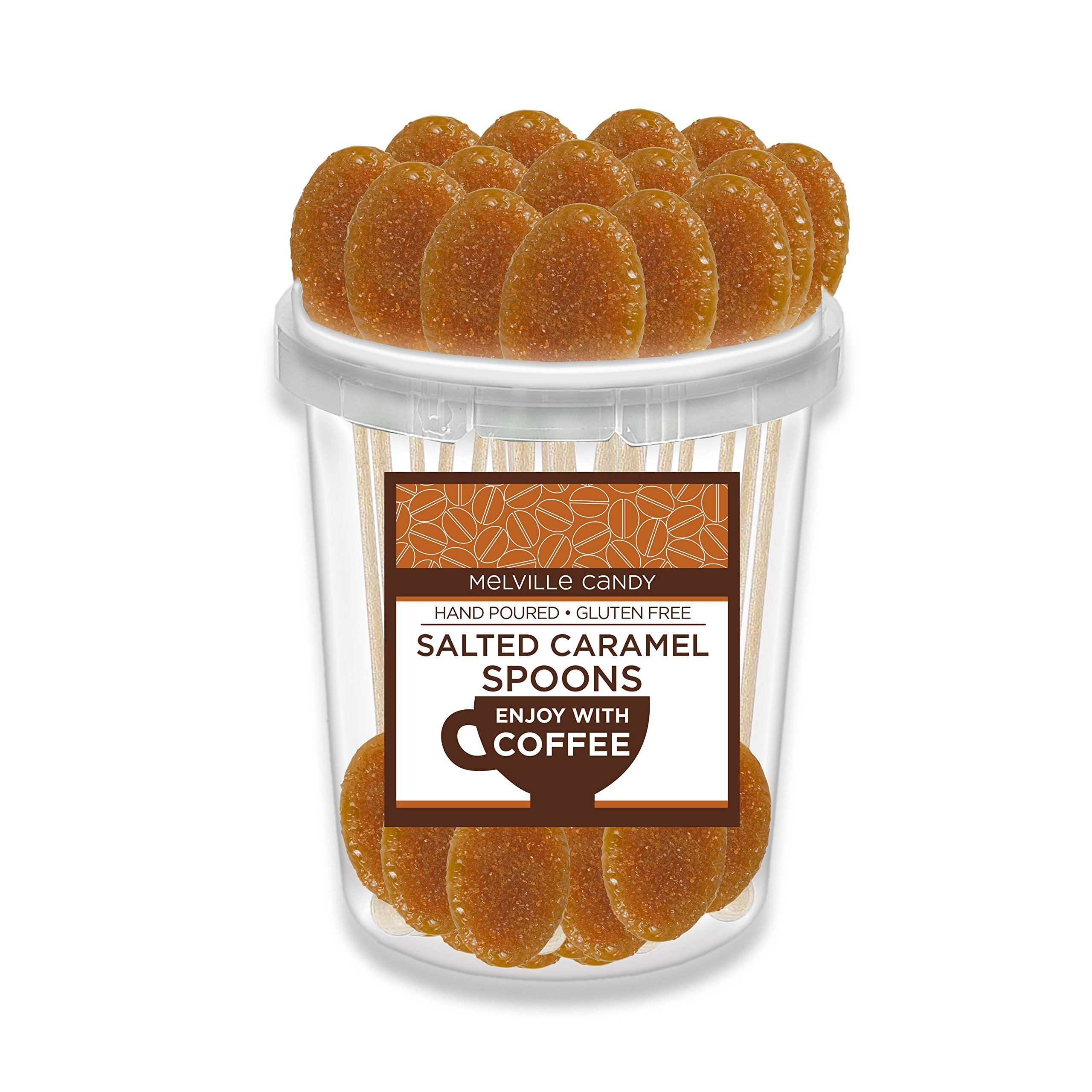 Salted Caramel Flavored Coffee Spoon Hard Candy Stirrer (30 Count) by Melville Candy