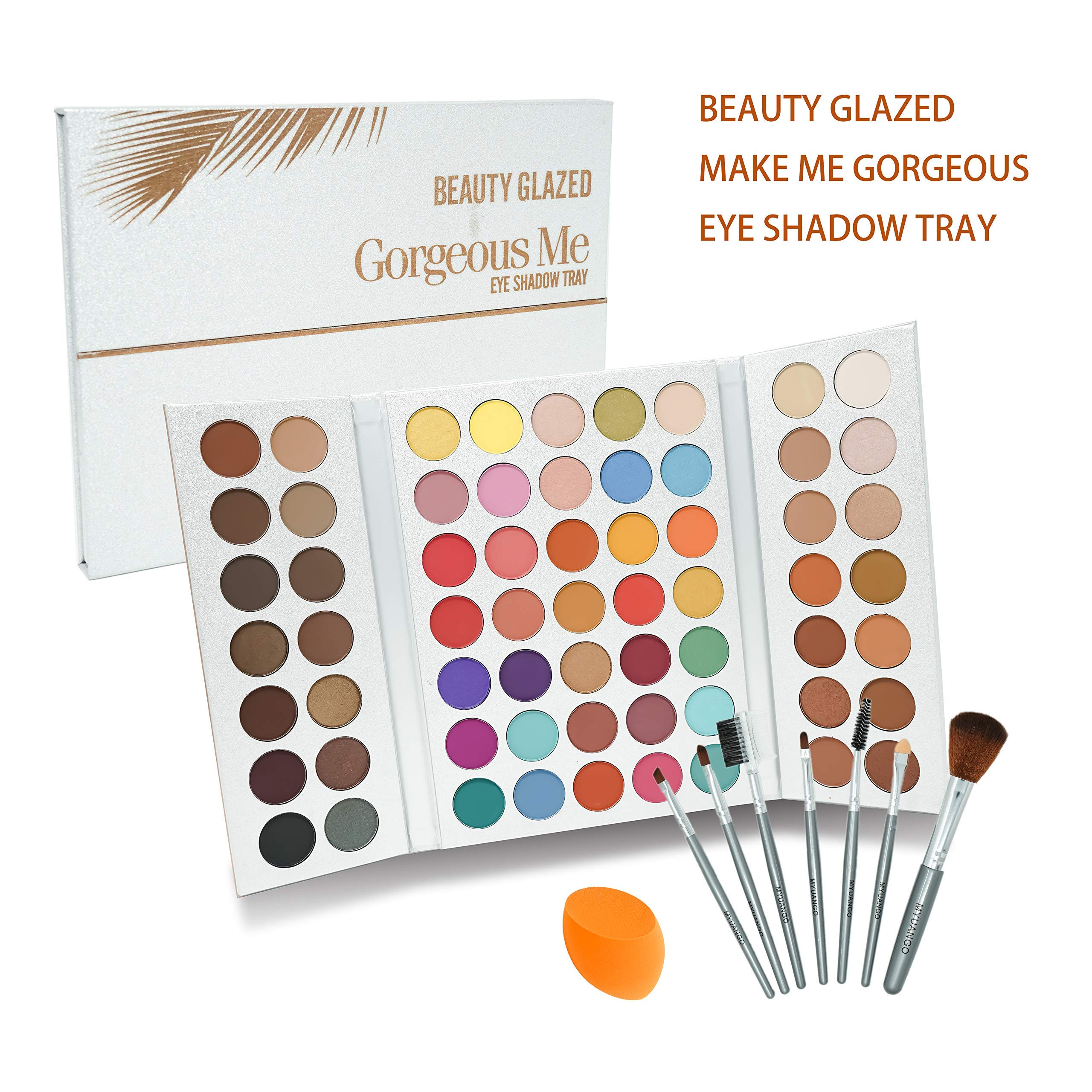 Beauty Glazed Make Up Palettes 63 Shades Eyeshadow Pigmented Matte Colors Long Stay On Soft and Smooth + Powder Sponge Blender + Make Up Brushes Set by Beauty Glazed (Image #3)
