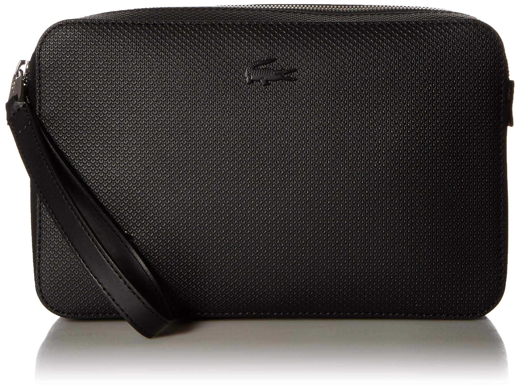 Lacoste Men's Chantaco Leather Zip Pouch with Strap, black, 00