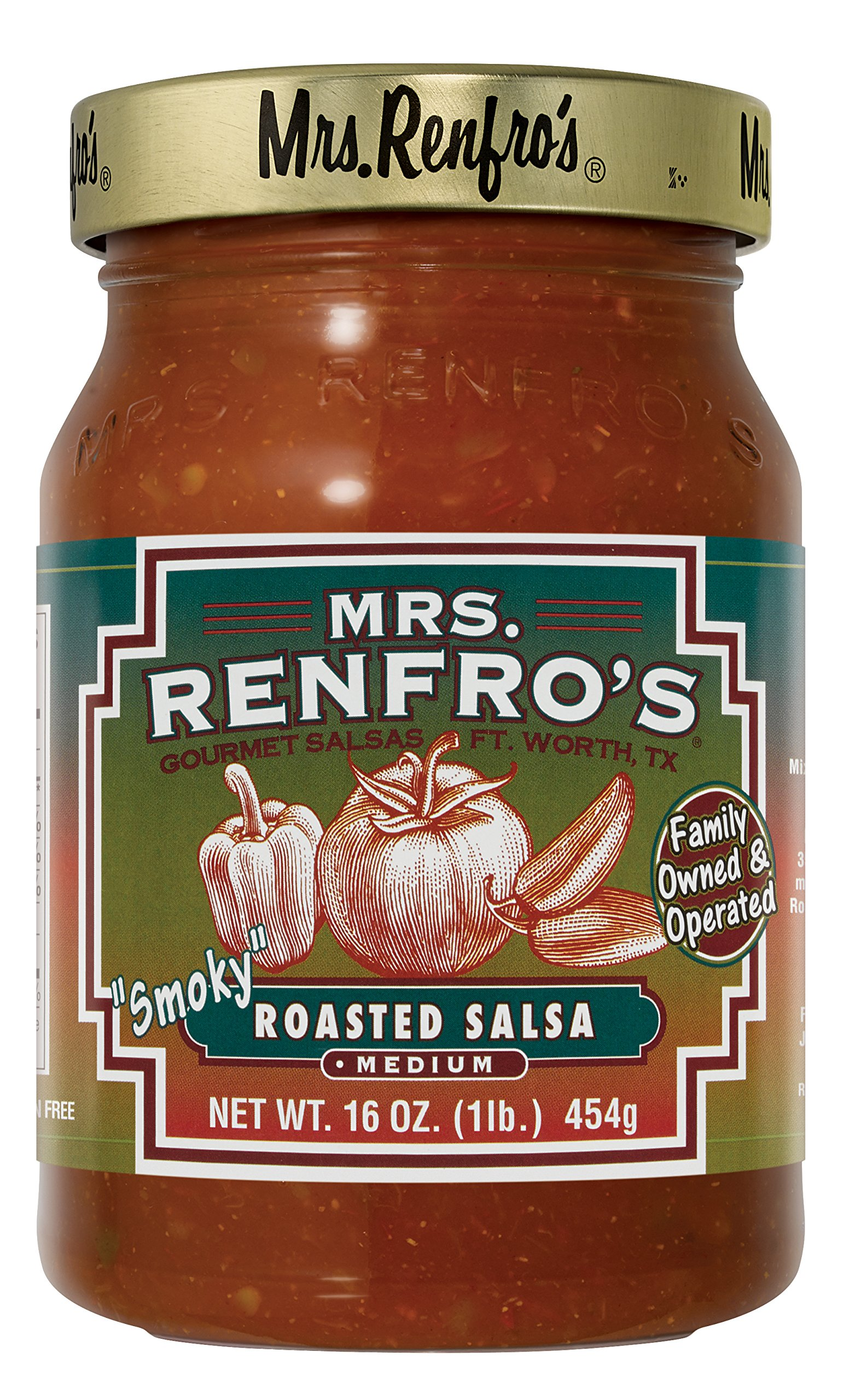 Mrs. Renfro's Smoky Roasted Salsa, Gluten Free, No Sugar Added, 16 oz Jar, Pack of 4 by Mrs. Renfro's