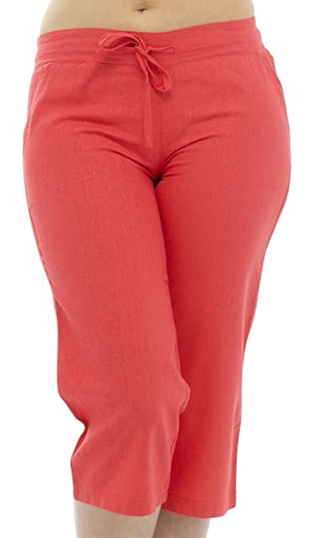 2c563a5d84d86 Tom Franks Linen Blend Cropped 3 4 Length Trousers with Ribbed Waist   Amazon.co.uk  Clothing