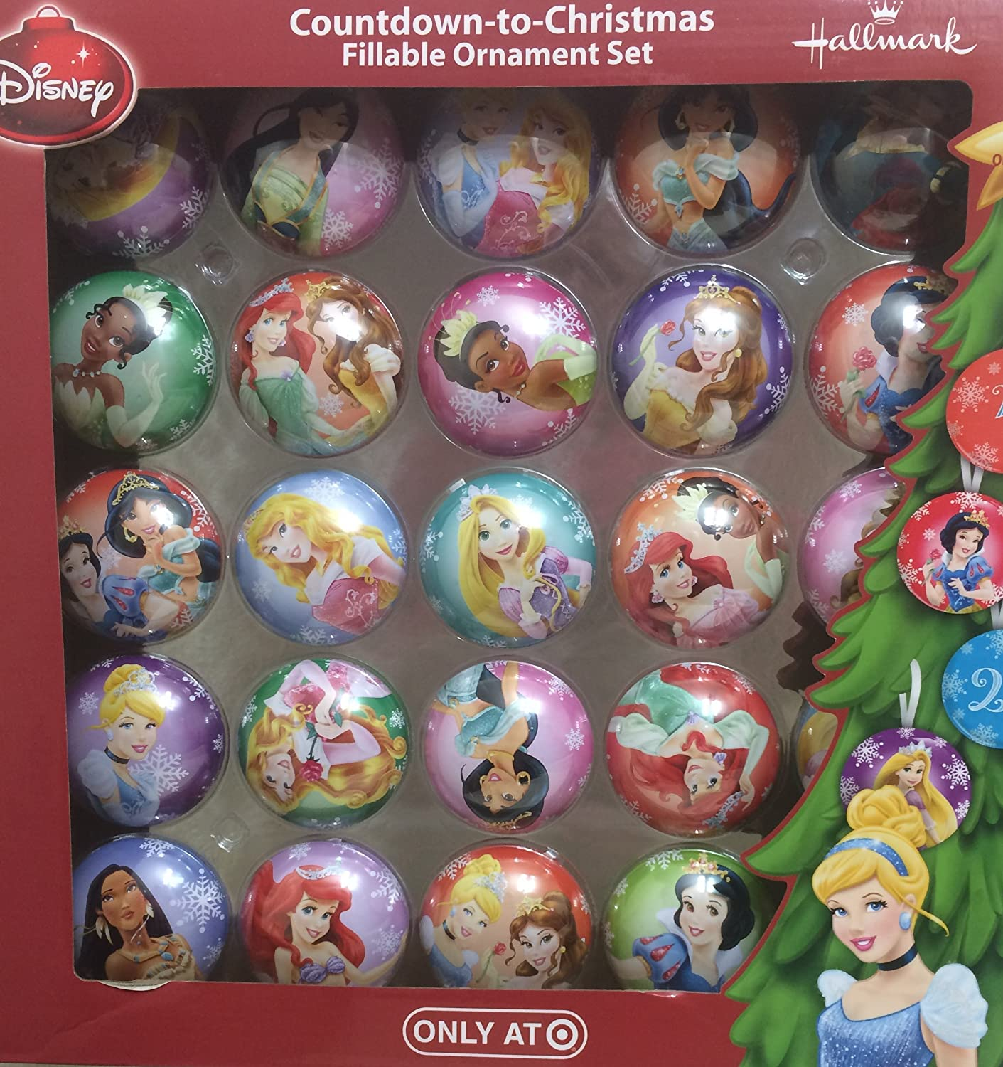 hallmark disney countdown to christmas fillable ornament set princess home kitchen jpg 1411x1500 disney princess christmas