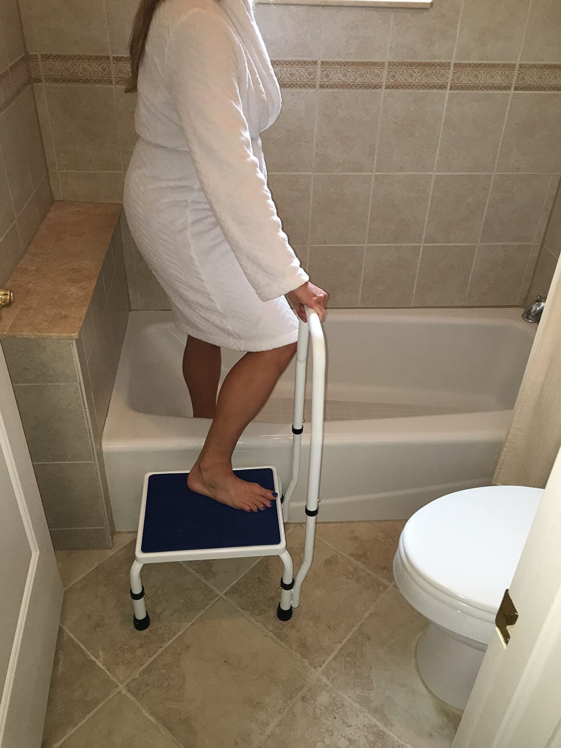 Amazon.com AdjustaStep(tm) Deluxe Step Stool/Footstool with Handle/Handrail Height Adjustable. 2 products in 1. Modern white/blue design. New for 2016. & Amazon.com: AdjustaStep(tm) Deluxe Step Stool/Footstool with ... islam-shia.org